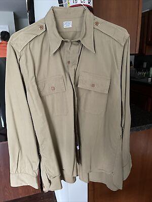1940s Men's Shirts, Sweaters, Vests 1940's Men's WWII US Army Officers Khaki Cotton Dress Shirt WW2 Size 16 1/2 X 36 $37.95 AT vintagedancer.com