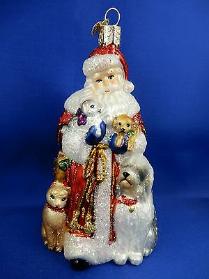 Santa Claus Cats & Dogs Poodle Old World Christmas Ornament Glass Tree NWT 40288