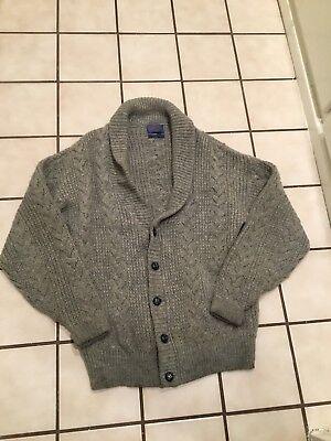 Vintage Pendleton Virgin Wool Cable Knit Shawl Collar Mens Cardigan Sweater Sz.L