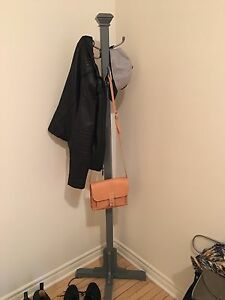 Gray wooden coat rack