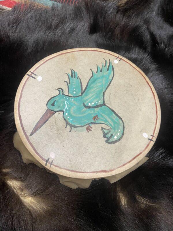 "Native American drum 10"" Hand drum Humming Bird Earth Pigment Paints Design Drum"