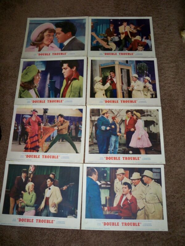 Elvis Original Rare 1967 Double Trouble Lobby Cards, Set of 8, VG++, NM, & M.