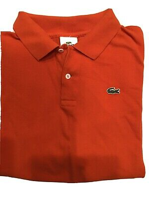 Lacoste Men's Size 8/Large Short Sleeve Polo Shirt Orange/Coral NICE