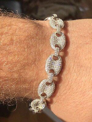 Mens 12mm Gucci Link Bracelet 14k White Gold Solid 925 Sterling Silver Diamond
