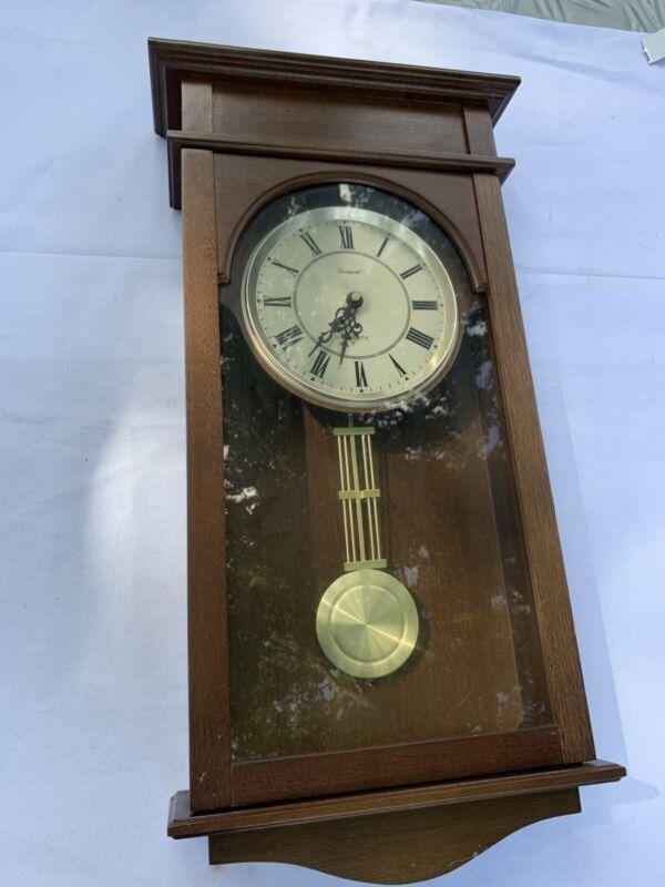 Vintage Dunhaven Pendulum Quartz Wood Wall Clock Y1