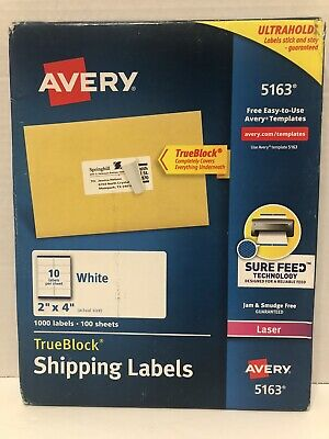 Avery White Shipping Labels With Trueblock Technology 2 X 4 - Box Of 1000