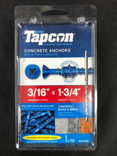 24355 Tapcon 75-Pack 1-3/4-in x 3/16-in Concrete Anchors