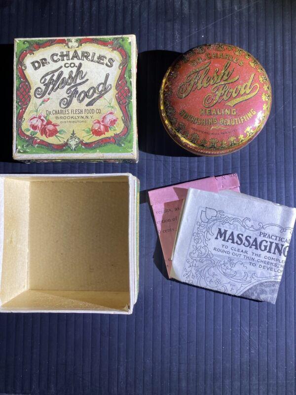 VINTAGE DR CHARLES CO FLESH FOOD TIN COLORFUL ORNATE BOX HEALING BEAUTIFYING
