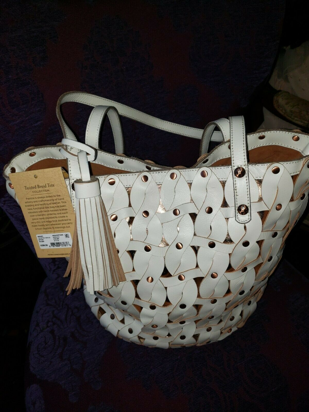 PATRICIA NASH Wonderful Bag White and Gold Woven Leather- NEVER USED