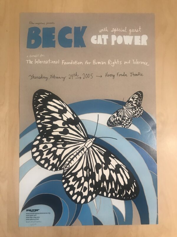 """Beck Concert Gig Poster 11.25""""x17.50"""" Cat Power Human Rights Benefit Show /500"""
