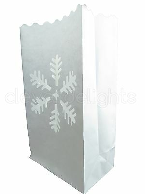 50 Luminary Bags - White - Snowflake Design - Christmas Holiday Decor Luminaria ()