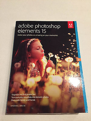 Adobe Photoshop Elements 15 Windows Mac in Retail Box Brand NEW - Free Shipping!