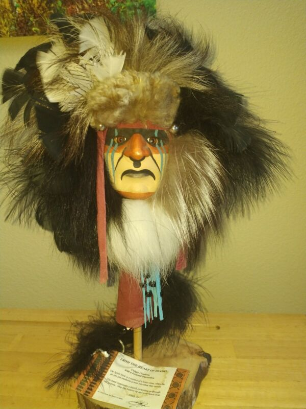 Spirits from the Heart Native American Indian Mask by Cindy Jo Stick Bust Signed