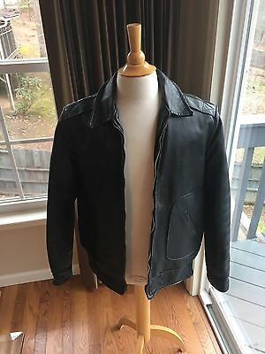 Sears Oakbrook Leather Jacket Motorcycle Bomber Vintage Black Men's 44
