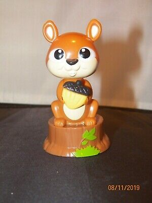 Solar Dancing brown squirrel acorn tree stump tail collectible decorative eyes