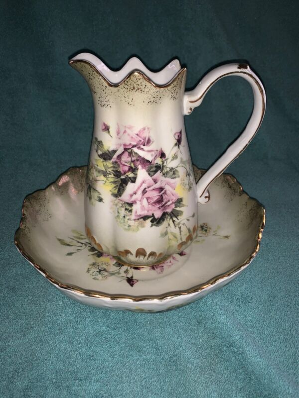 "Vtg Rose Hydrangea 7.5"" Pitcher & 9"" Basin Bowl Set Reproduction RS Prussia"