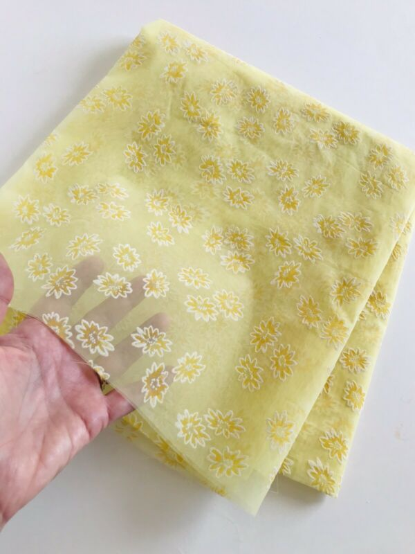 Vintage YELLOW Sheer Nylon? Fabric with FLOCKED Floral Flowers on Both Sides