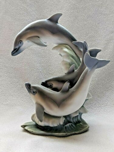 Homco Masterpiece Porcelain Dolphin Pod 1994 Endangered Species Figurine Vintage
