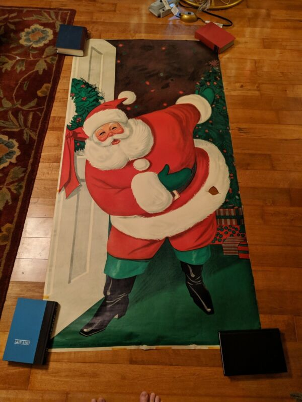 Vintage 1962 Sears And Roebuck Santa Claus Door Poster Christmas