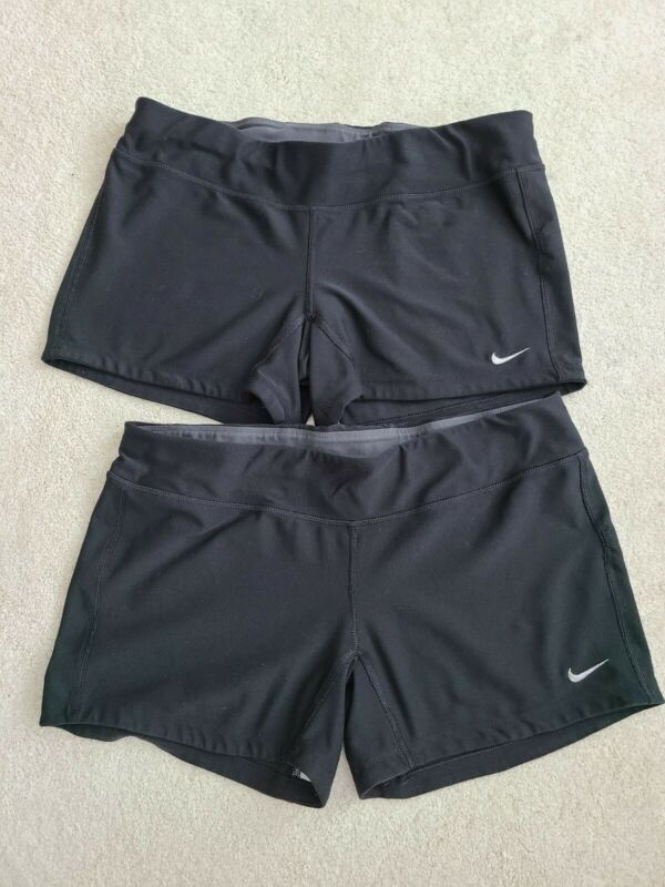 Nike Running Shorts (2) Girls Large Black Embroidered Logo size 14-16