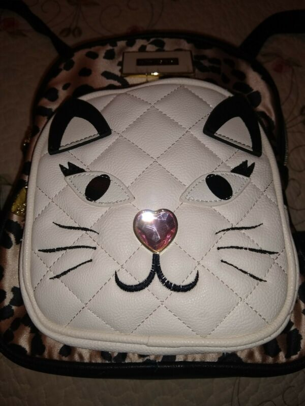 Betsey Johnson Animal Cheetah Print Backpack Kitty Cat Book Bag