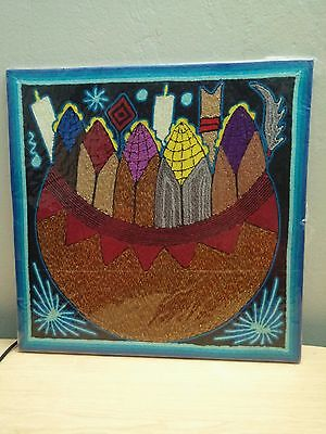 "New Wrap 12"" x 12"" HUICHOL YARN PAINTING Original Mexican Folk Art TEPEHUANO"