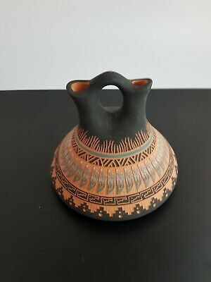 Vintage Native American Terry Smith Hand Crafted Pottery Wedding Vase