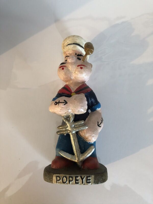 "Popeye the Sailor Man with Ship Anchor Cast Iron 8"" Tall Vintage-Style Statue"