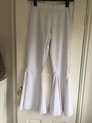 Abba 1970s Flare Trousers 10 White Fancy Dress Petite?