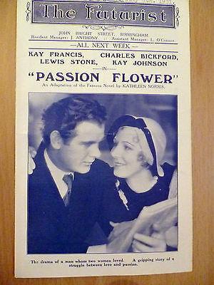 Cinema Programme1931:The Futurist Theatre - Birmingham: PASSION FLOWER
