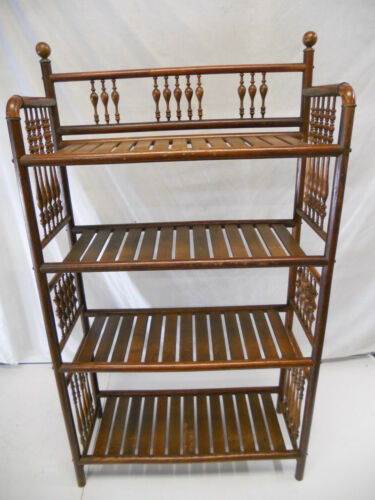 Antique Oak Stick & Ball Open Bookshelf Modern Large
