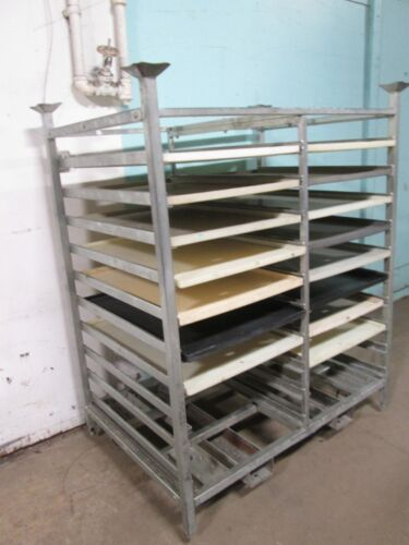 """CUMBERLAND"" H.D. COMMERCIAL BAKERY PANS/POLY TRAYS  DOUBLE WIDE STEEL RACK"