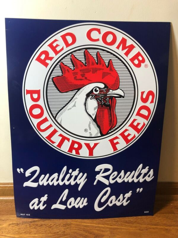 """Large Red Comb Poultry Feeds Chicken Farm Feed 27"""" Embossed Metal Sign~Nice"""