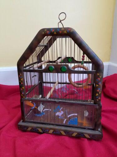 Antique Birdcage - art deco glass (vintage retro metal hand painted bird house)