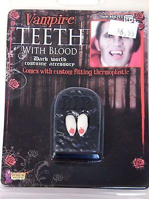 Vampire Teeth With Blood Dark World Accessory Theatrical Costume Halloween - Vampire Teeth With Blood