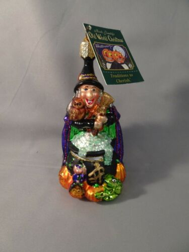 """NOS w Tag 2004 Old World Christmas OWC WITCH WITH CAULDRON 4.5"""" Halloween"""