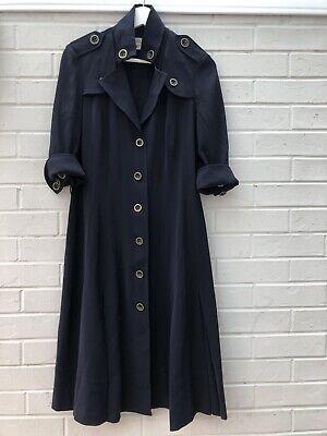 Karen Millen Size UK 12 Navy Smart Dress Button Down Collared Vintage