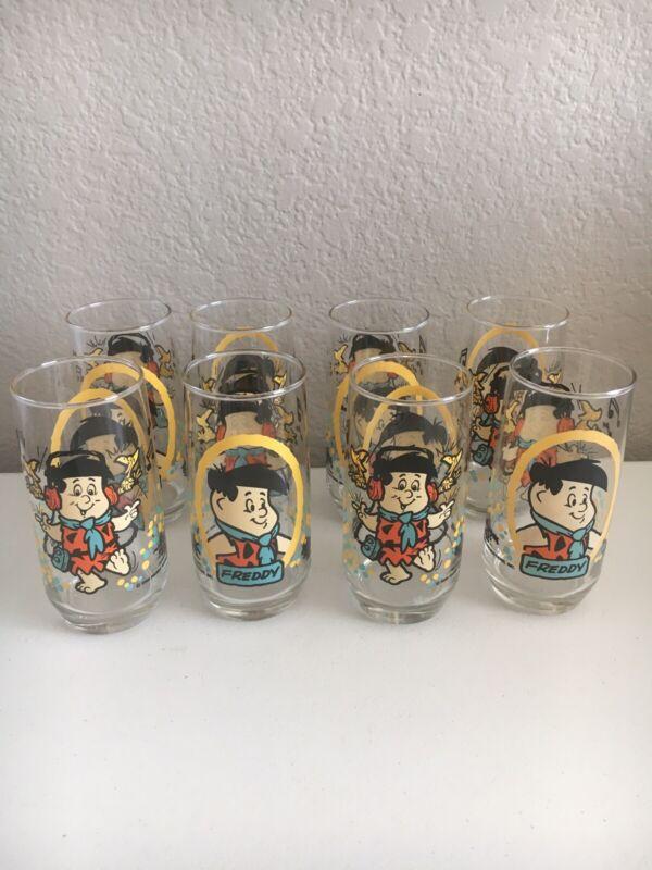Vintage 1986 The Flintstone Kids Pizza Hut Promo Glasses Fred Flintstone Set 8