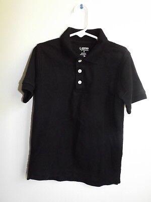 French Toast 6 black short sleeve polo uniform shirt plain cotton blend EUC