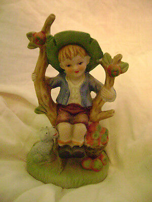 Bisque Figurine Sitting Country Boy/Dog-Apple Tree/Basket-No Mark