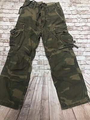 Abercrombie Fitch green camouflage Heavy long straps military cargo pants 32