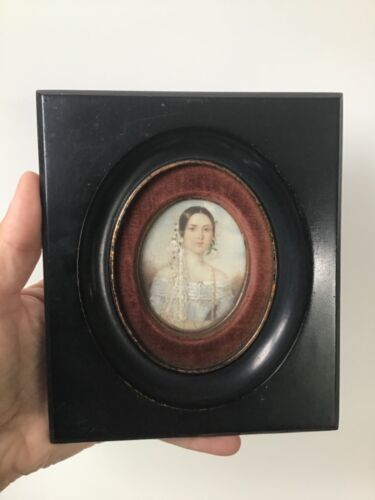 Antique French miniature portrait on vellum of a lady in wedding gown