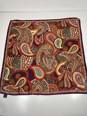 Vintage Scarf Styles -1920s to 1960s Vintage Carole Little 100% Silk Scarf Putple Red Paisley Print $12.99 AT vintagedancer.com