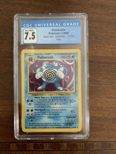 1999 Pokemon Base Set Holo Poliwrath 13 CGC 7.5 NEAR MINT  - $67.00