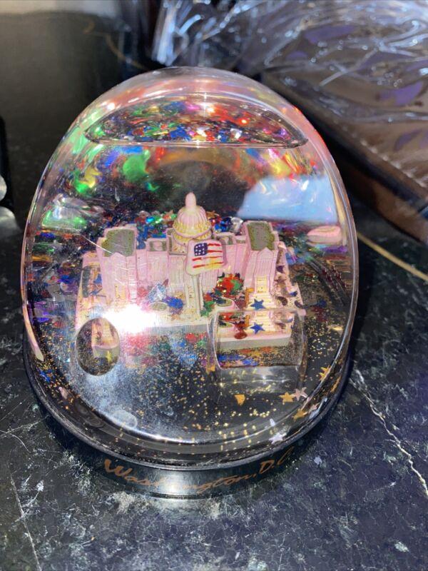 VTG LARGE Washington DC Glitter Snow Globe w/Pen Holder  TKT