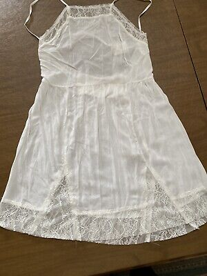 Intimately Free People Dobby Dot Slip Dress Open Back Lace Trim Size L Ivory