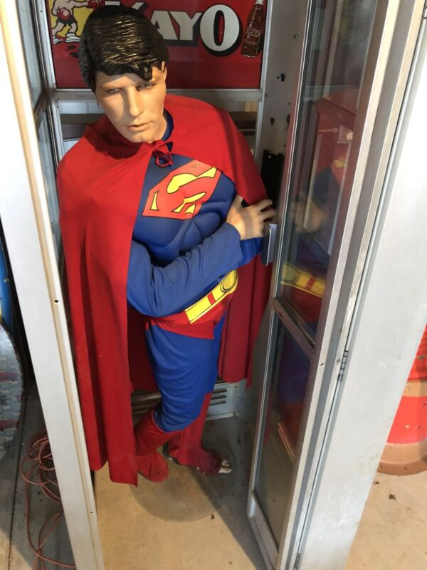 Vintage Aluminum Phone Booth With Superman And Kay-O Tin Sign