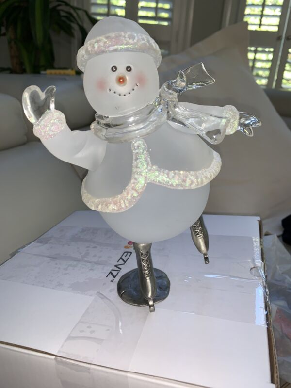 "8""  SKATING SNOWMAN GLASS WITH METAL SKATES"