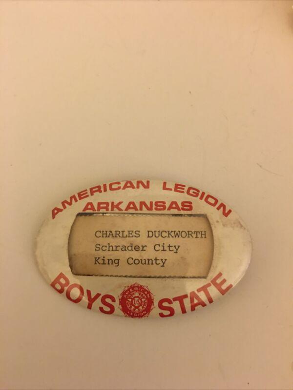 Vintage American Legion Arkansas Boys State Name Badge