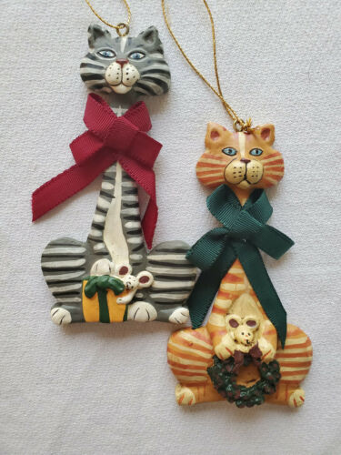 2 Kurt Adler Tabby Cat Christmas Ornaments Orange and Gray Tabby Cats w/ Mice